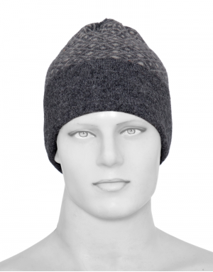 Angora wool diamond design cap dark grey