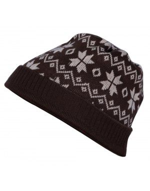 Acrylic Zig Zag With Flower Design Cap Brown