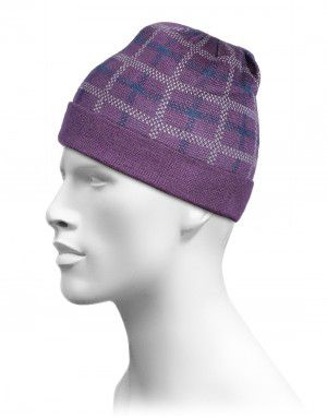 Acrylic Jacquard Check 1 Cap Purple