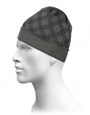 Acrylic Check Design Cap Dark Grey For Unisex