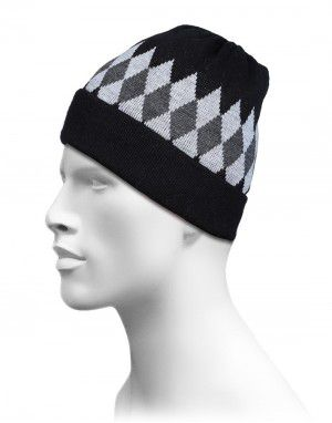 Acrylic Diamond Jacquard Design Cap Black
