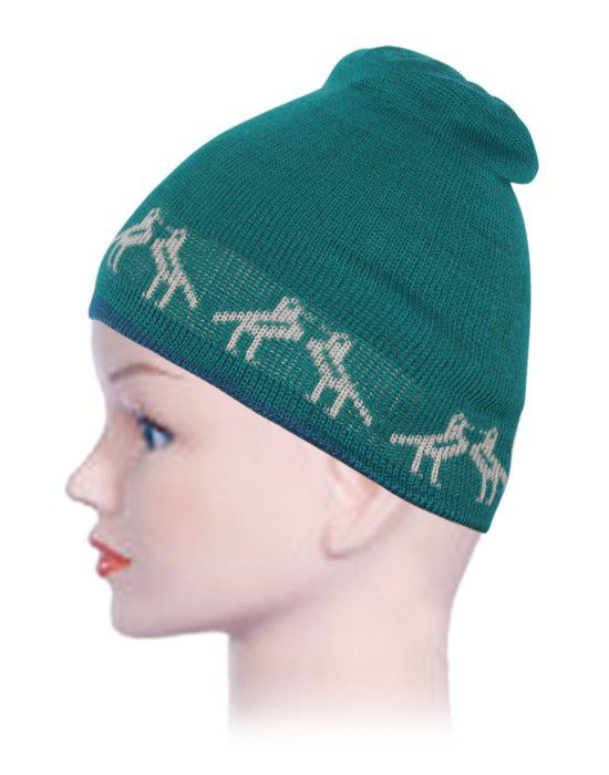 Kids Acrylic Cap Jacquard Birds Green
