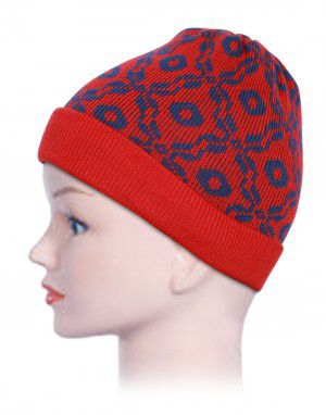 Acrylic Kids Cap Jacquard Red and Blue