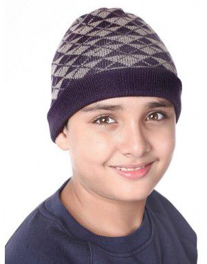 Acrylic Kids Cap Jacquard triangles Purple