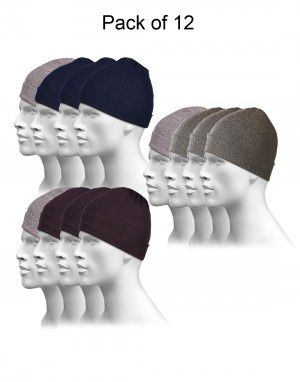 Pure Wool Plain Cap Combo P12