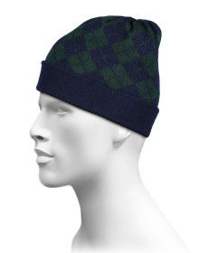 Pure Wool Cap Diamond Design Navy