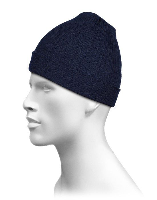 Pure Wool Cap Plain Navy
