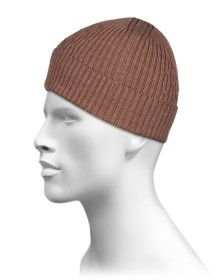 Pure Wool Cap Self Design Brown