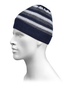 Pure Wool Cap Stripes Design Navy