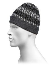 Pure Wool Cap Zig Zag Design Dark Grey
