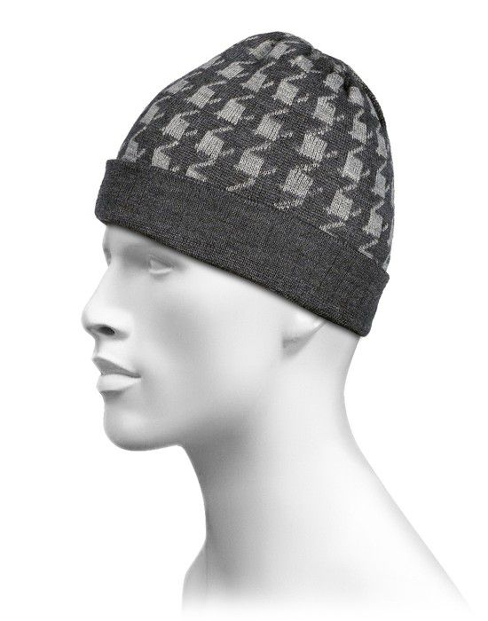 Pure Wool Cap Zig Zag Design Light Grey