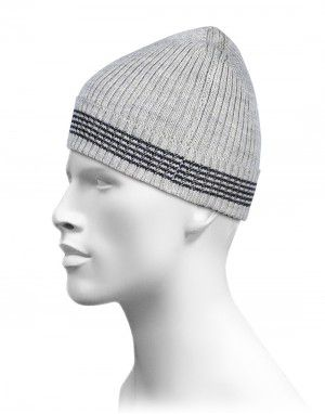 Pure Wool Cap Self Design With Border Stripes Grey