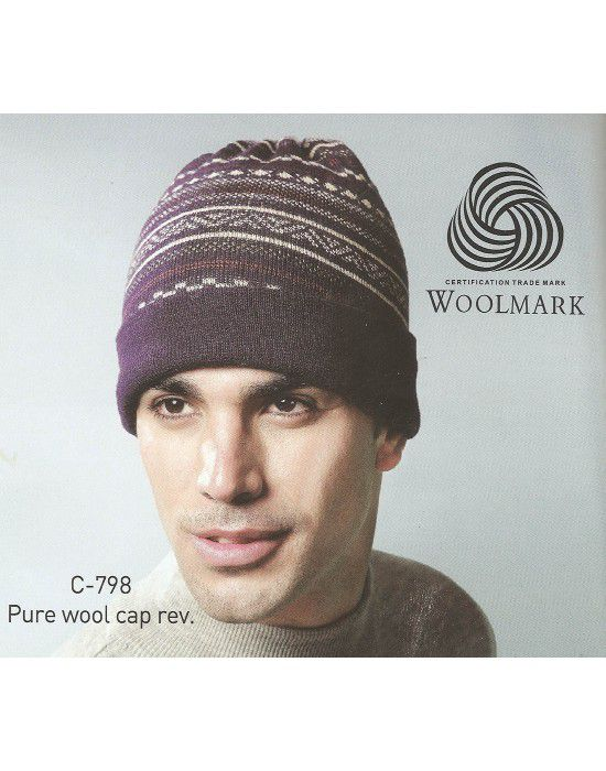 Pure Wool Cap Reversible Jacquard Stripes purple