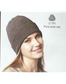 Pure Wool Ribbed Cap Grey
