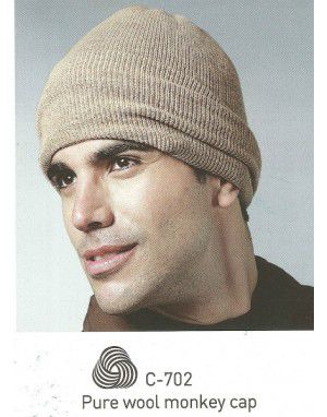 Pure Wool Ribbed Monkey Cap Camel