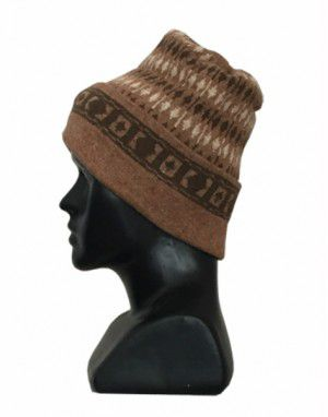 Angora wool multi design cap brown