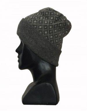Angora wool diamond design cap dark grey