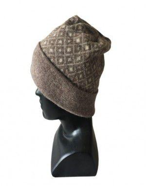 Angora wool diamond design cap brown