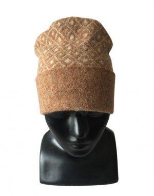 Angora wool diamond design cap light brown