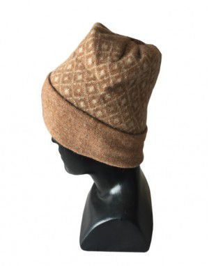 Angora wool diamond design cap light brown