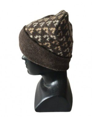 Angora wool designer cap Dark Brown