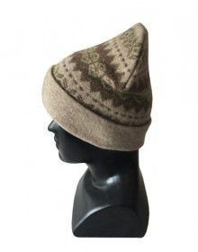 Angora wool matrix design cap Light brown