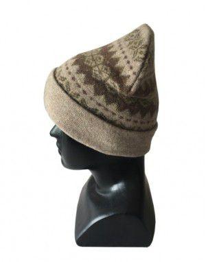 Angora wool matrix design cap Light brown