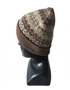 Angora wool matrix design cap brown