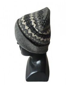 Angora wool matrix design cap dark grey