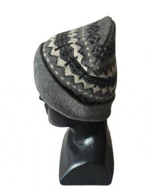 Angora wool matrix design cap dark grey