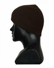 Kids pure wool plain cap brown