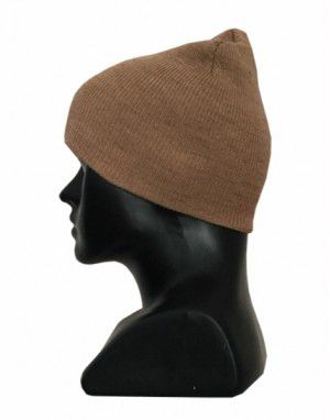Kids pure wool plain cap camel