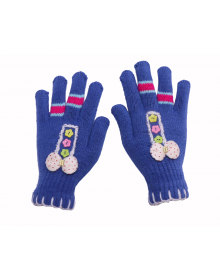 Acrylic Gloves Design ladies royal blue color