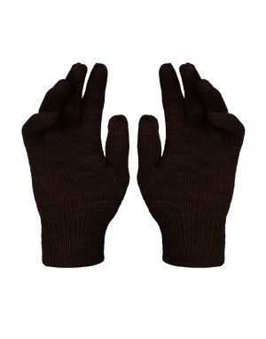Kids Pure Wool Hand Gloves Plain Dark Brown