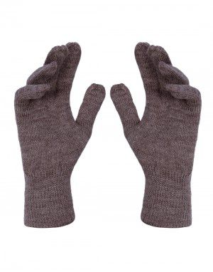 Pure Wool Hand Gloves Plain Brown