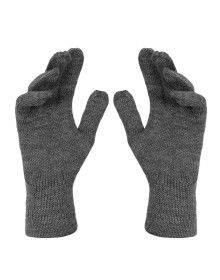 Pure Wool Hand Gloves Plain Grey