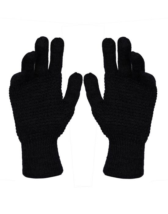 Pure Wool Hand Gloves Tuck Black
