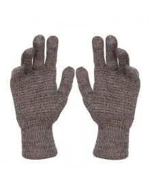 Pure Wool Hand Gloves Tuck Brown