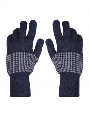 Pure Wool Hand Gloves Designer Navy