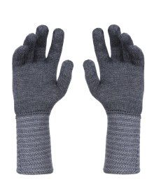 PURE WOOL EXTRA LONG HAND GLOVES DESIGNER DARK GREY