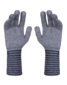 PURE WOOL EXTRA LONG HAND GLOVES DESIGNER GREY NAVY