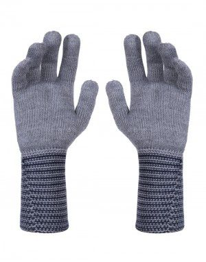 PURE WOOL EXTRA LONG HAND GLOVES DESIGNER GREY