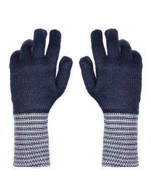 PURE WOOL EXTRA LONG HAND GLOVES DESIGNER NAVY