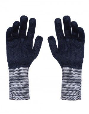 PURE WOOL EXTRA LONG WOMEN HAND GLOVES NAVY
