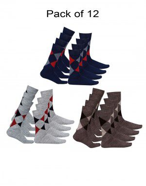 Pure Wool Socks Diamond P12 Machine Washable