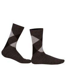 Pure Wool Socks Diamond Brown