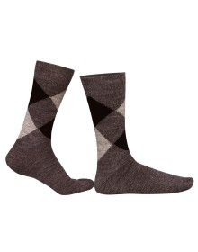 Pure Wool Socks Diamond Brown