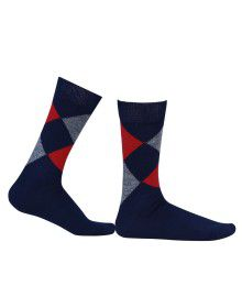 Pure Wool Socks Diamond Machine Washable Navy