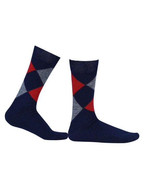 Pure Wool Socks Diamond Navy