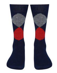 Pure Wool Socks Diamond Navy